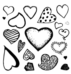 Doodle heart icons vector image vector image