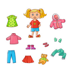 flat cartoon girl wardrobe objects set vector image vector image