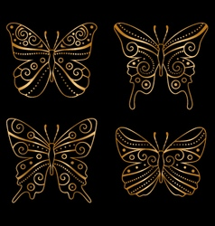 golden butterflies vector image vector image
