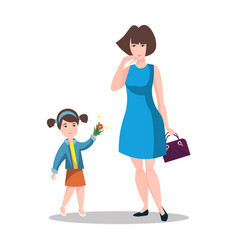 little daughter gives mom a gift for mother s day vector image