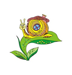 snail on a green leaf vector image