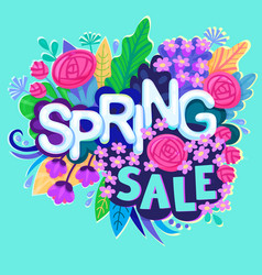 spring sale design with colorful flowers colorful vector image