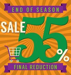 55 percent end of season sale vector