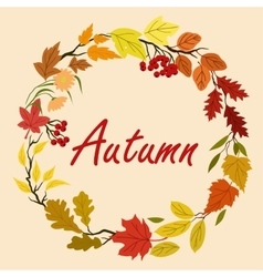 Autumn leaves and flowers wreath vector