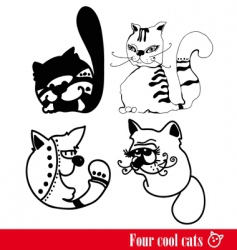 band of four funky cats vector image