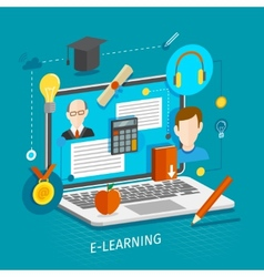 E-learning concept flat vector image