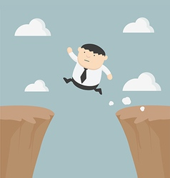 Fat businessman jumping over gap vector image