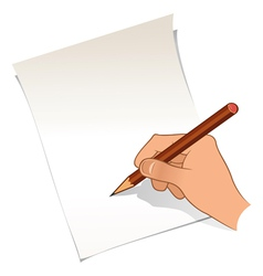 Hand with pencil and paper vector image