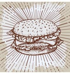 Sketch hamburger or burger logo design template vector image