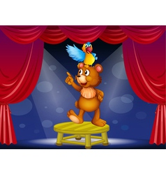 A bear and a parrot in the circus vector image vector image