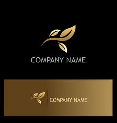 leaf gold organic logo vector image
