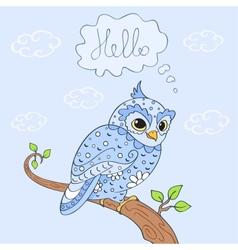 owl hello vector image vector image