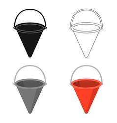 red metal fire bucket icon cartoon single vector image