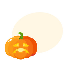 sad frustrated pumpkin jack-o-lantern cartoon vector image