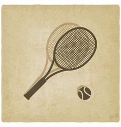 sport tennis logo old background vector image vector image