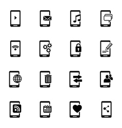 black mobile icons set vector image vector image