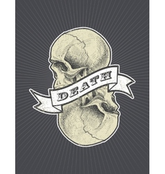 death sign with ribbon and skull eps8 vector image