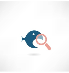 fish under the magnifying glass icon vector image vector image