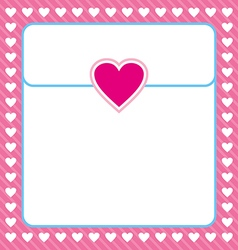 Frame shaped from white heart on pink background vector image