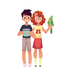 girl holding green parrot and boy with aquarium vector image
