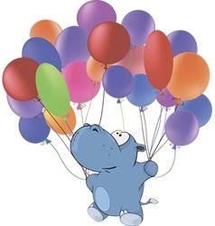 Little hippopotamus and multicolored balloons vector
