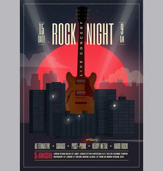 live concert rock night poster vector image vector image