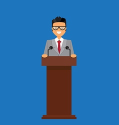 Professor or businessman on tribune vector image