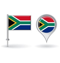 South African pin icon and map pointer flag vector image vector image