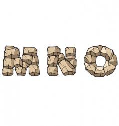 stone Alphabet mno vector image