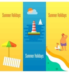 Summer Holidays Banner with Lighthouse vector image vector image