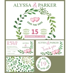 Wedding invitation cardWatercolor green branches vector image vector image