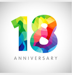18 anniversary colorful facet logo vector