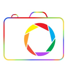 Abstract colorful camera on a white background vector image