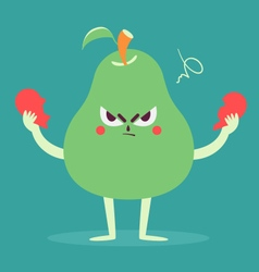Angry Pear Tearing a Heart Apart vector