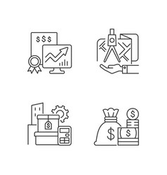 Assets management linear icons set vector