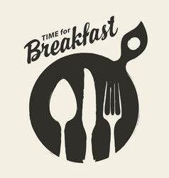 banner for breakfast time with cutlery vector image