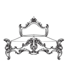 Baroque bed line art ornamened decor designs vector