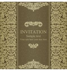 Baroque invitation dull gold vector