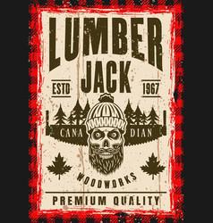 bearded skull lumberjack in hat poster vector image