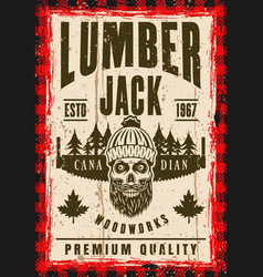 Bearded skull of lumberjack in hat poster vector