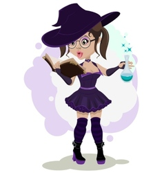 Beautiful witch cooks a potion vector