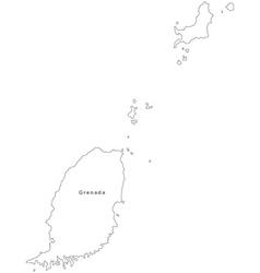 Black White Grenada Outline Map vector image