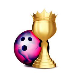 bowling award bowling ball golden cup vector image