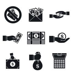 bribery corrupt icon set simple style vector image