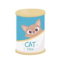 Canister food for cat animal domestic pets vector