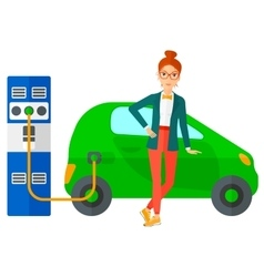 Charging of electric car vector image