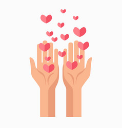 charity hands and hearts blood donation vector image
