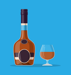 cognac bottle and glass vector image