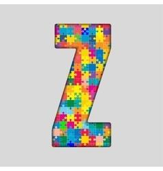 Color Puzzle Piece Jigsaw Letter - Z vector image