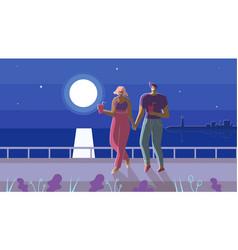 Couple in love walking under moonlight cartoon vector